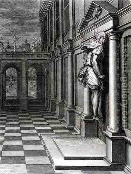 Iphis Hangs Himself in Despair that he Could Not Gain Anaxarete, 1731 by Bernard Picart - Reproduction Oil Painting