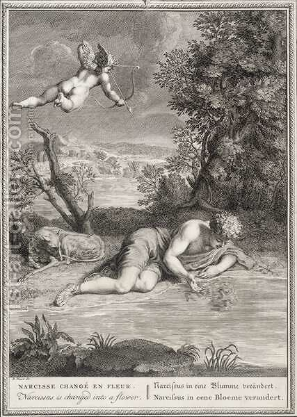 Narcissus Transformed into a Flower, 1730 by Bernard Picart - Reproduction Oil Painting