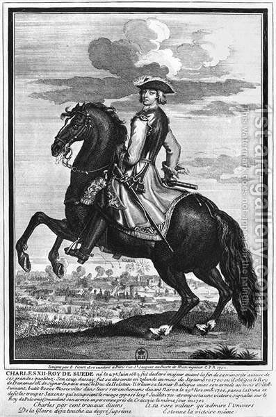 King Charles XII 1682-1718 of Sweden, on horseback, 1702 by Bernard Picart - Reproduction Oil Painting