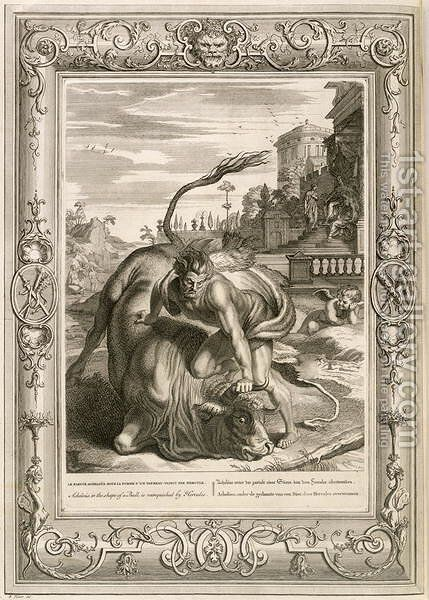 Achelous in the Shape of a Bull is Vanquished by Hercules, 1731 by Bernard Picart - Reproduction Oil Painting