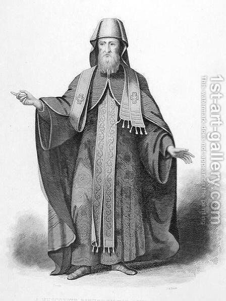 A Muscovite Bishop in his Pontifical Habit, engraved by J. B. Bird, from World Religion, published by A. Fullarton and Co. by (after) Picart - Reproduction Oil Painting