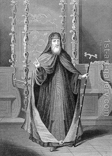 The Greek Patriarch of Constantinople, 18th century, engraved by C. Holl, from World Religion, published by A. Fullarton and Co. by (after) Picart - Reproduction Oil Painting