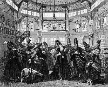 The Dance of the Dervishes, engraved by W. Forrest, from World Religion, published by A. Fullarton and Co. by (after) Picart - Reproduction Oil Painting
