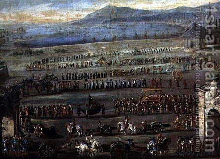 The Funeral Procession for the Doge F. Morosini by Alessandro Piazza - Reproduction Oil Painting