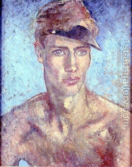 Young Man Wearing a Sun Visor by Glyn Warren Philpot - Reproduction Oil Painting