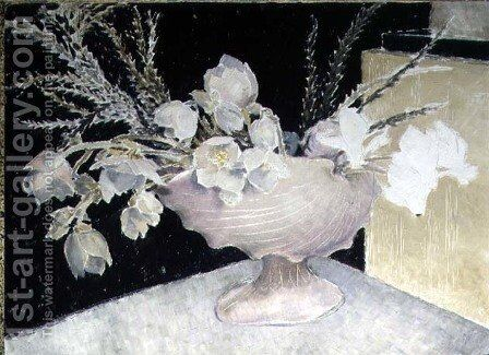 Cyclamen and Christmas Roses, 1934 by Glyn Warren Philpot - Reproduction Oil Painting