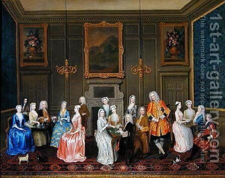 Tea Party at Lord Harringtons House, St. Jamess by Charles Phillips - Reproduction Oil Painting