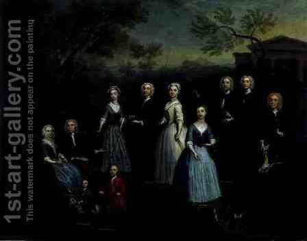The Russell, Revett and Greenhill Families, 1740s by Charles Phillips - Reproduction Oil Painting
