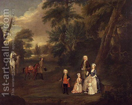 Thomas Hill of Tern, and his family in a landscape, 1730 by Charles Phillips - Reproduction Oil Painting