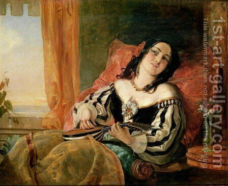 Lady Playing the Mandolin, 1854 by John Phillip - Reproduction Oil Painting