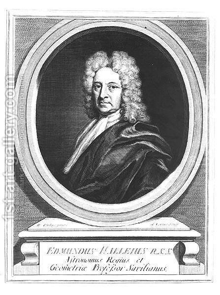 Portrait of Edmond Halley 1656-1742, engraved by George Vertue 1684-1756 by (after) Philips, Richard - Reproduction Oil Painting