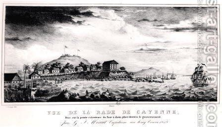 View of Cayenne Harbout, Guyana, 1839 by (after) Philippe, V. - Reproduction Oil Painting
