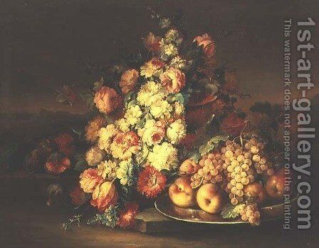 Still Life with Flowers and a Pewter Plate with Fruit by Maximilian Pfeiler - Reproduction Oil Painting