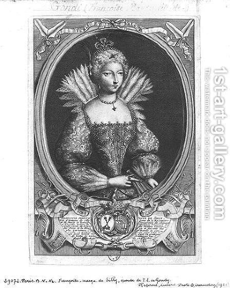 Francoise-Marguerite de Silly 1584-1626 engraved by Claude Duflos 1665-1727 by Antoine Pezey - Reproduction Oil Painting