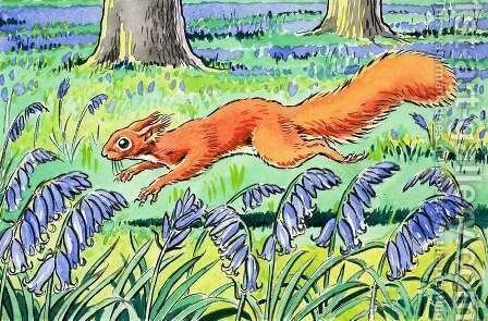 Little Red Squirrel 4 by Harry M. Pettit - Reproduction Oil Painting