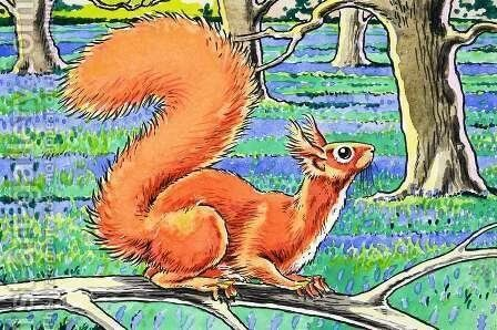 Little Red Squirrel 7 by Harry M. Pettit - Reproduction Oil Painting