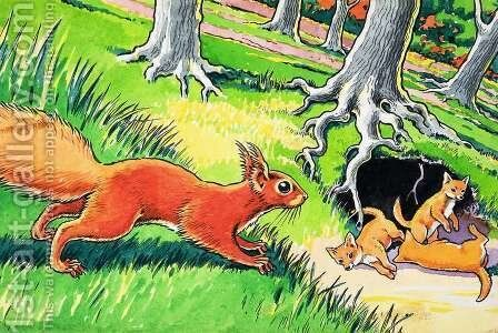 Little Red Squirrel 17 by Harry M. Pettit - Reproduction Oil Painting