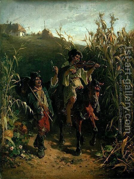 Gipsies by August Xaver Karl von Pettenkofen - Reproduction Oil Painting