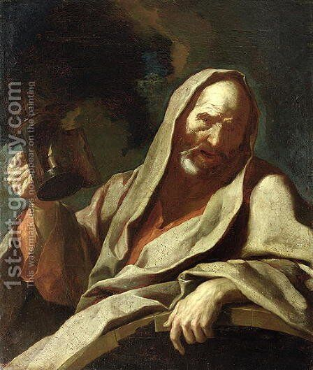 Diogenes c.412-323 BC with his Lantern, c.1720-40 by Giuseppe Antonio Petrini - Reproduction Oil Painting