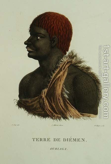 T.1548 Ouriaga from Van Diemans Land, plate 9 from Voyage of Discovery to Australian Lands, engraved by B. Roger, 1807 by (after) Petit, N. - Reproduction Oil Painting