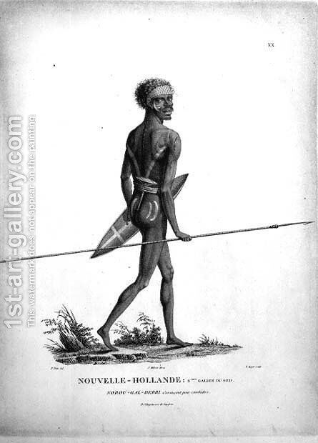 T.1551 Norou-Gal-Derri Ready for Combat, native from New South Wales, New Holland, plate 20 from Voyage of Discovery to Australian Lands, engraved by B. Roger, pub. 1807 by (after) Petit, N. - Reproduction Oil Painting
