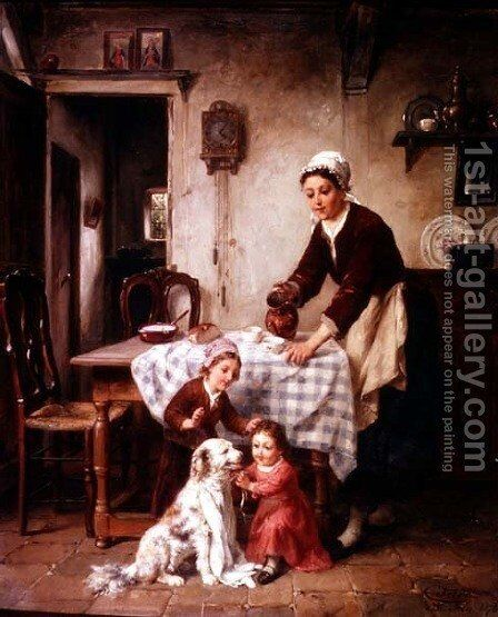 The Baby of the Family, 1878 by Charles Petit - Reproduction Oil Painting
