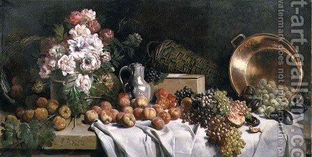 Still life with flowers and fruit on a table by Alfred Petit - Reproduction Oil Painting