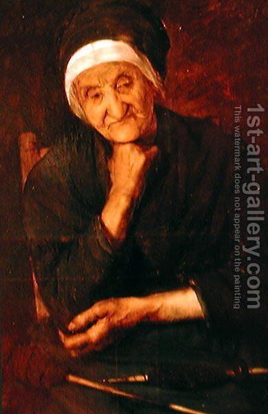 Old woman from Aulus Ariege by Marie, Mrs Dujardin-Beaumetz Petiet - Reproduction Oil Painting