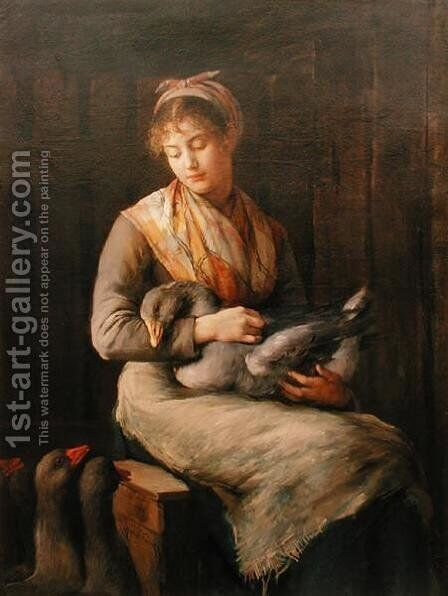 Young girl with geese by Marie, Mrs Dujardin-Beaumetz Petiet - Reproduction Oil Painting