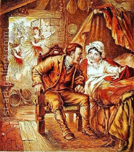 The Birth of Tom Thumb, illustration from Our Nurses Picture Book, engraved by Kronheim and Co., 1869 by Horace Petherick - Reproduction Oil Painting