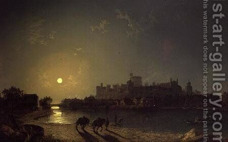 Moonlight View of Windsor Castle from the Thames by Henry Pether - Reproduction Oil Painting