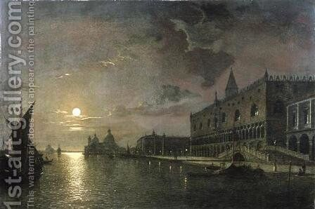 Moonlit View Of The Bacino Di San Marco, Venice, With The Doges Palace by Henry Pether - Reproduction Oil Painting
