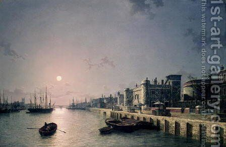 Tower of London and the Thames in moonlight by Henry Pether - Reproduction Oil Painting