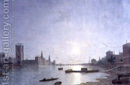 Westminster in Moonlight, c.1850 by Henry Pether - Reproduction Oil Painting