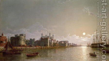 The Thames by Moonlight with Traitors Gate and the Tower of London by Henry Pether - Reproduction Oil Painting