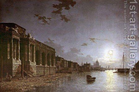 A View of the Thames by Abraham Pether - Reproduction Oil Painting