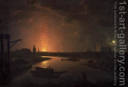 The Burning of Old Drury Lane Theatre, February 24 1809 by Abraham Pether - Reproduction Oil Painting