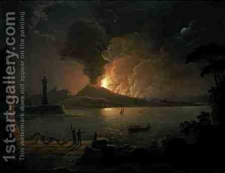 A View of Mount Vesuvius Erupting by Abraham Pether - Reproduction Oil Painting