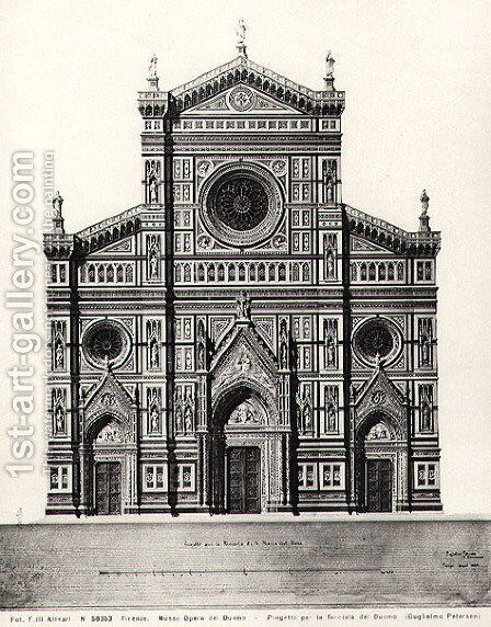 Design for the facade of Santa Maria del Fiore or Duomo in Florence, 1864 by Guglielmo Petersen - Reproduction Oil Painting