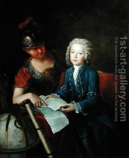 Jean-Philippe Baratier 1721-40 Presented to Minerva, 1735 by Antoine Pesne - Reproduction Oil Painting
