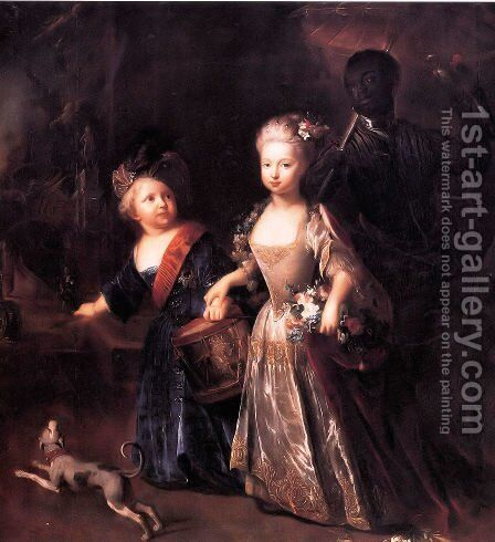 Crown Prince Frederick II with his sister Wilhelmine, 1714 by Antoine Pesne - Reproduction Oil Painting