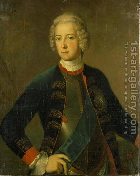 Crown Prince Frederick II, 1728 by Antoine Pesne - Reproduction Oil Painting