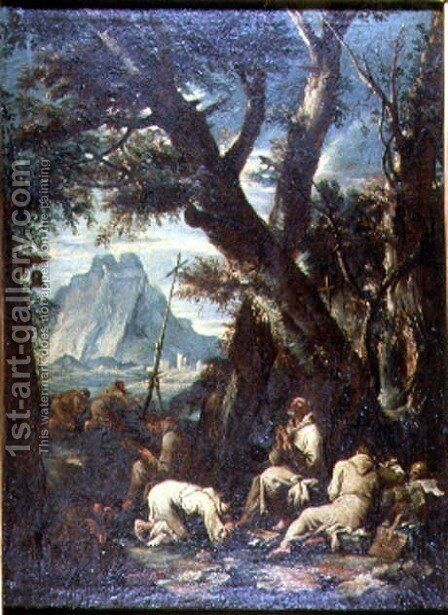 Countryside with Hermits, c.1700-10 by Antonio Francesco Peruzzini - Reproduction Oil Painting