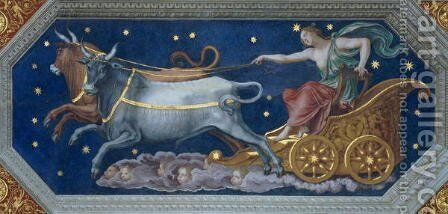 The Nymph Callisto on Jupiters Chariot, ceiling decoration from the Sala di Galatea, 1511-12 by Baldassare Peruzzi - Reproduction Oil Painting