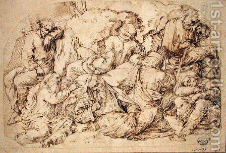Seven disciples sleeping at the foot of the Mount of Olives, c.1520 by Baldassare Peruzzi - Reproduction Oil Painting