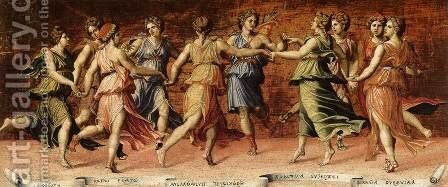 Dance of Apollo with the Nine Muses by Baldassare Peruzzi - Reproduction Oil Painting