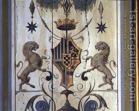 Painted window shutters depicting a coat of arms with two lions by Baldassare Peruzzi - Reproduction Oil Painting