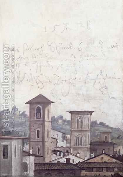 The Sala delle Prospettive Hall of Perspective detail depicting a view of Rome, 1518-19 by Baldassare Peruzzi - Reproduction Oil Painting