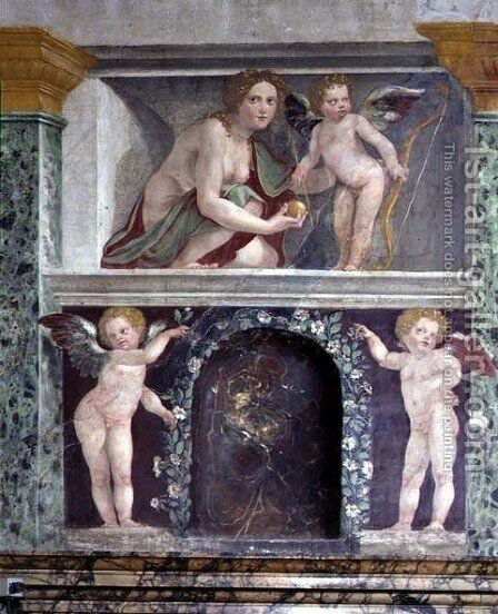 The Sala delle Prospettive Hall of Prospective detail of trompe loeil niche depicting Venus and Cupid, 1518-19 by Baldassare Peruzzi - Reproduction Oil Painting