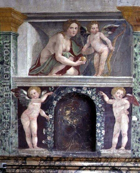 The Sala delle Prospettive Hall of Prospective detail of trompe loeil niche depicting Venus and Cupid, 1518-19 2 by Baldassare Peruzzi - Reproduction Oil Painting